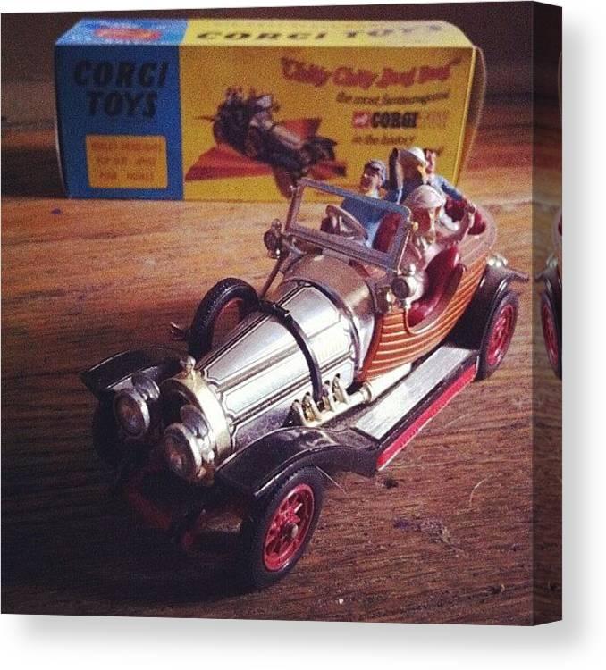 Car Canvas Print featuring the photograph Chitty Chitty Bang Bang Corgi Toy by Katie Cupcakes