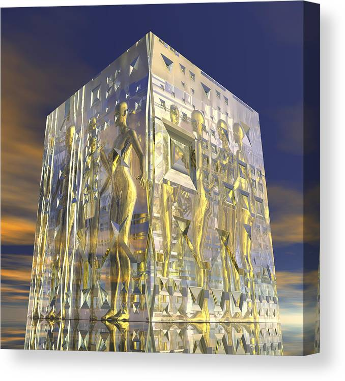Glass Cube With Encased Female Nude Figures Canvas Print Canvas Art By Harald Sund