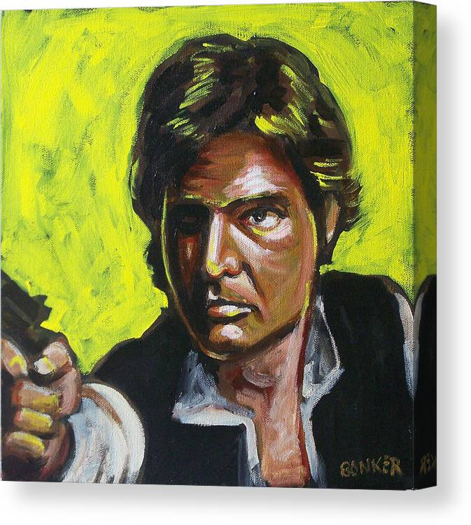 Han Solo Played By Harrison Ford In Star Wars Canvas Print featuring the painting Han Solo by Buffalo Bonker