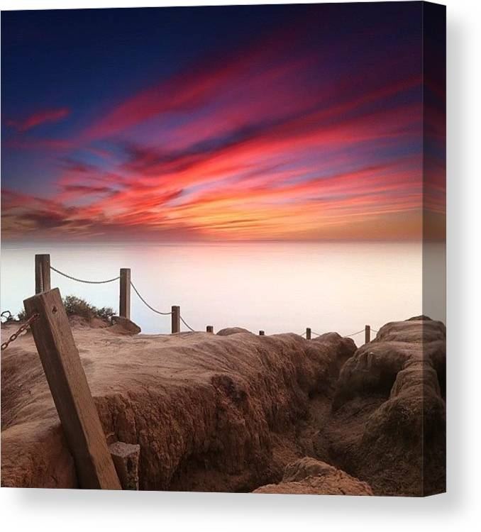 Canvas Print featuring the photograph Long Exposure Sunset Taken From The by Larry Marshall