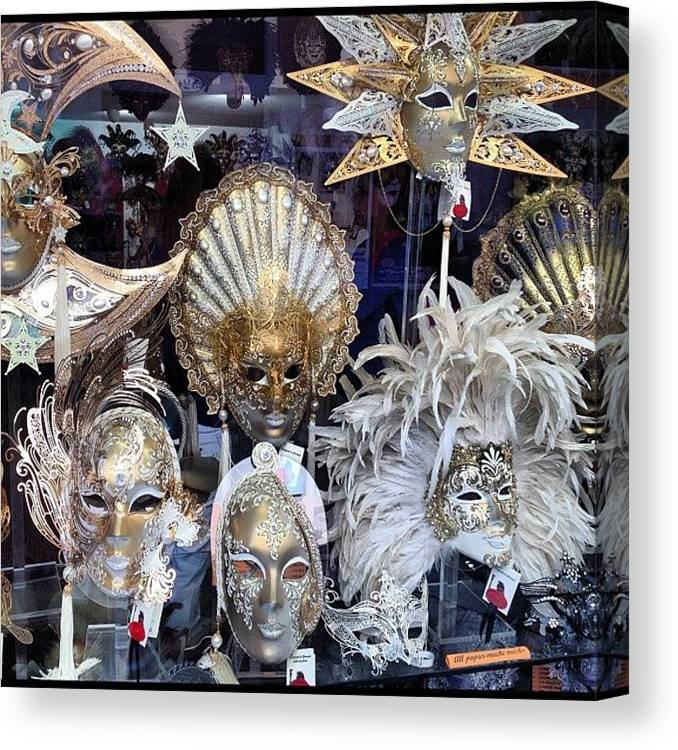 Venice Canvas Print featuring the photograph Masks in Venice Italy by Irina Moskalev