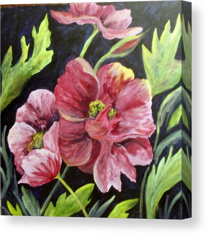Floral  Poppies      Still Life  Canvas Print featuring the painting Poppies by Lorna Skeie