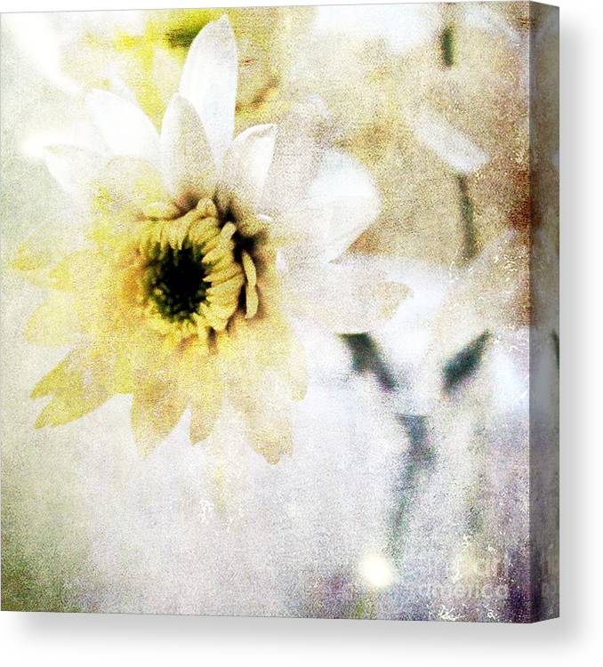 Flower Canvas Print featuring the mixed media White Flower by Linda Woods