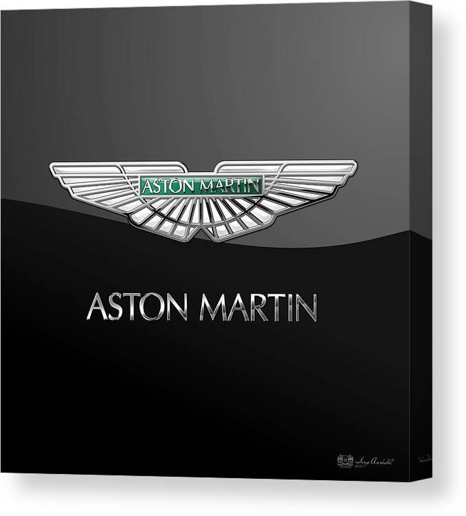 'wheels Of Fortune� Collection By Serge Averbukh Canvas Print featuring the photograph Aston Martin 3 D Badge on Black by Serge Averbukh