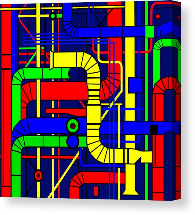 Centre Georges Pompidou Canvas Print featuring the digital art Inspired by the Centre Georges Pompidou by Asbjorn Lonvig