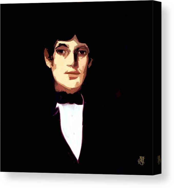 Portrait Canvas Print featuring the digital art Portrait of a Young Man by John Helgeson