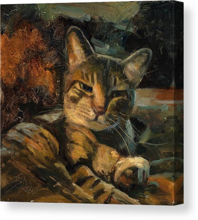 Cats Canvas Print featuring the painting Tabby Nap by Billie Colson