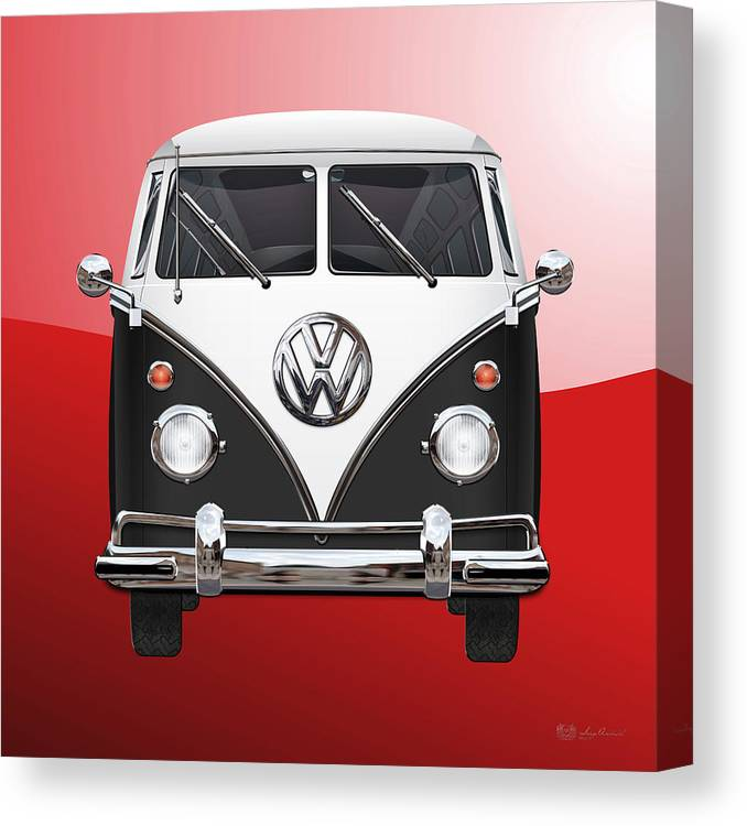 'volkswagen Type 2' Collection By Serge Averbukh Canvas Print featuring the photograph Volkswagen Type 2 - Black and White Volkswagen T 1 Samba Bus on Red by Serge Averbukh
