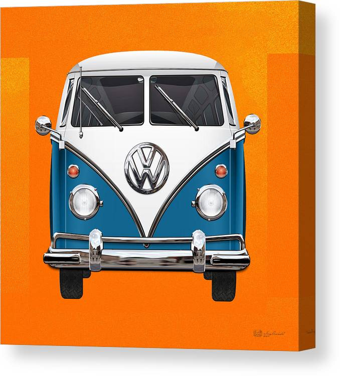 'volkswagen Type 2' Collection By Serge Averbukh Canvas Print featuring the photograph Volkswagen Type 2 - Blue and White Volkswagen T 1 Samba Bus over Orange Canvas by Serge Averbukh