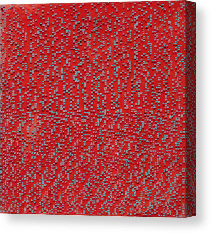 Abstract Red Pattern Turquoise Canvas Print featuring the painting Heart and Soul by Joan De Bot