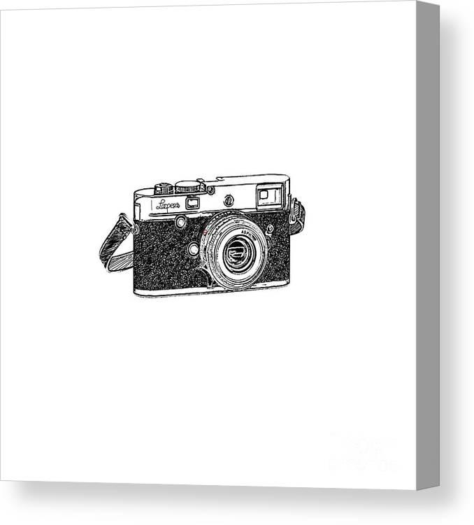 Analog Canvas Print featuring the digital art Rangefinder Camera by Setsiri Silapasuwanchai
