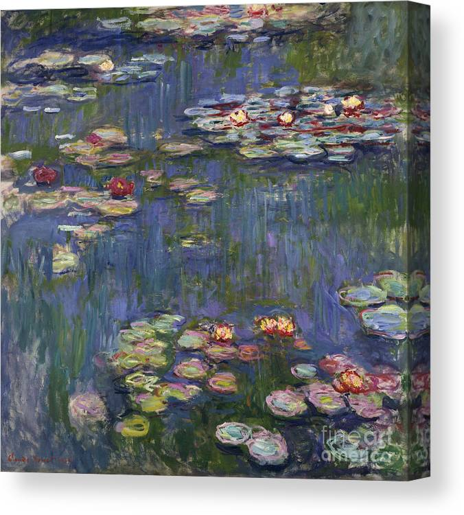 Monet Canvas Print featuring the painting Water Lilies, 1916 by Claude Monet