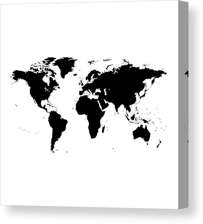 World Map Black And White Canvas Print Canvas Art By Marianna
