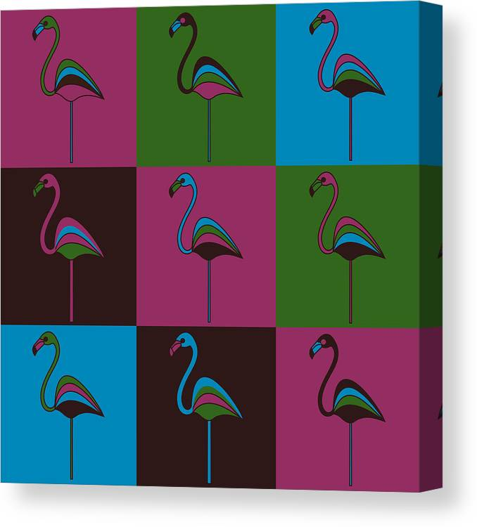 Carnival At The Zoo Canvas Print featuring the pyrography 9 Flamingos by Asbjorn Lonvig