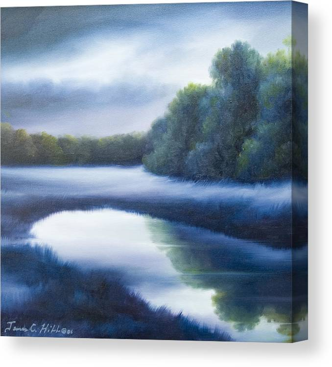 Nature; Lake; Sunset; Sunrise; Serene; Forest; Trees; Water; Ripples; Clearing; Lagoon; James Christopher Hill; Jameshillgallery.com; Foliage; Sky; Realism; Oils; Green; Tree; Blue; Pink; Pond; Lake Canvas Print featuring the painting A Day In The Life 4 by James Christopher Hill