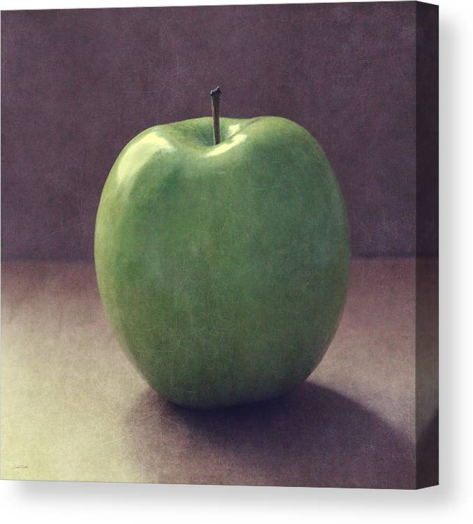 Apple Canvas Print featuring the photograph A Green Apple- Art by Linda Woods by Linda Woods