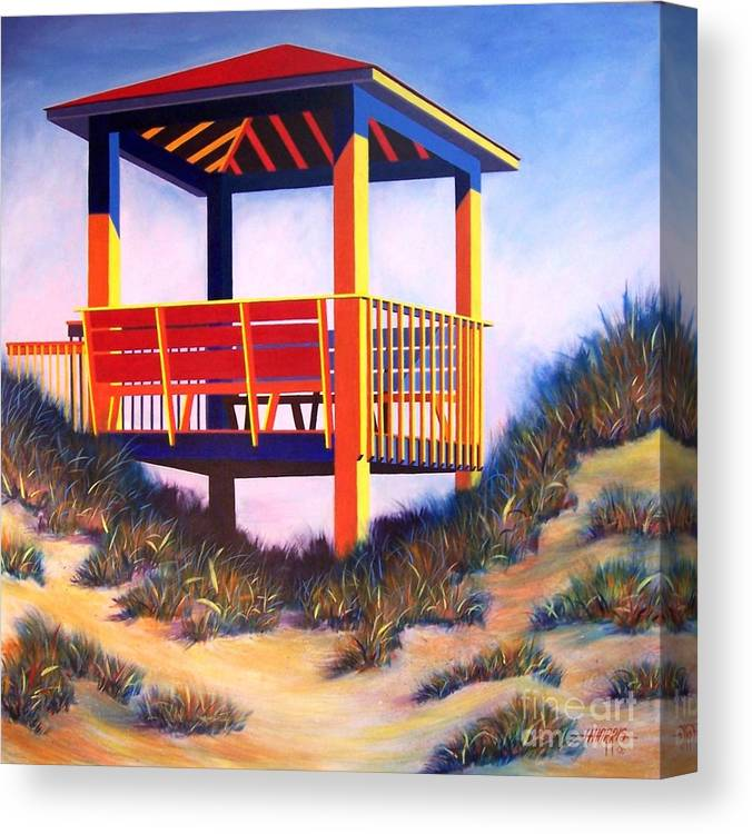 Cheerful Beach Scene Painted In Acrylic On Gallery Wrap Canvas Canvas Print featuring the painting A Happy Place by Hugh Harris