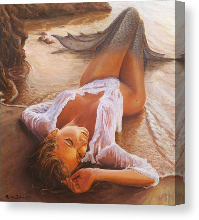 Mermaid Siren Sensual Sunset Sea Water Lady Sexy Canvas Print featuring the painting A Mermaid In The Sunset - Love Is Seduction by Marco Busoni