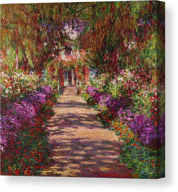 Pathway Canvas Print featuring the painting A Pathway in Monets Garden Giverny by Claude Monet