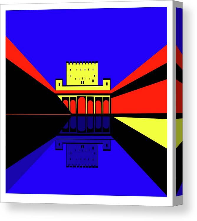 Alhambra Granada Canvas Print featuring the digital art Alhambra Granada by Asbjorn Lonvig