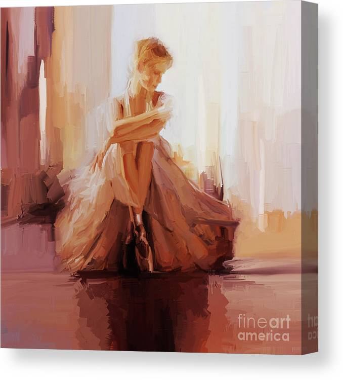 Ballerina Canvas Print featuring the painting Ballerina Dancer Sitting On The Floor 01 by Gull G