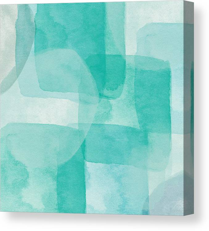 Abstract Canvas Print featuring the painting Beach Glass- Abstract Art by Linda Woods by Linda Woods