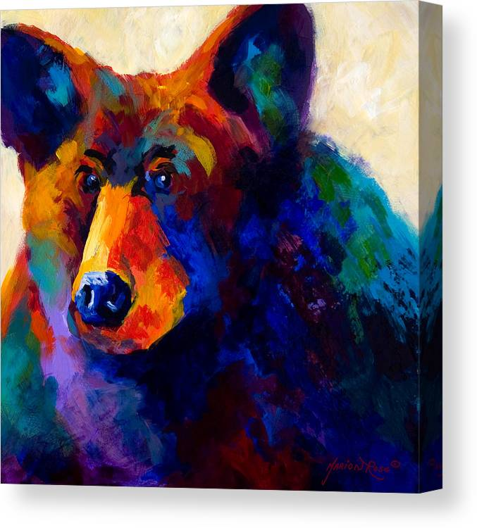 Bear Canvas Print featuring the painting Beary Nice - Black Bear by Marion Rose