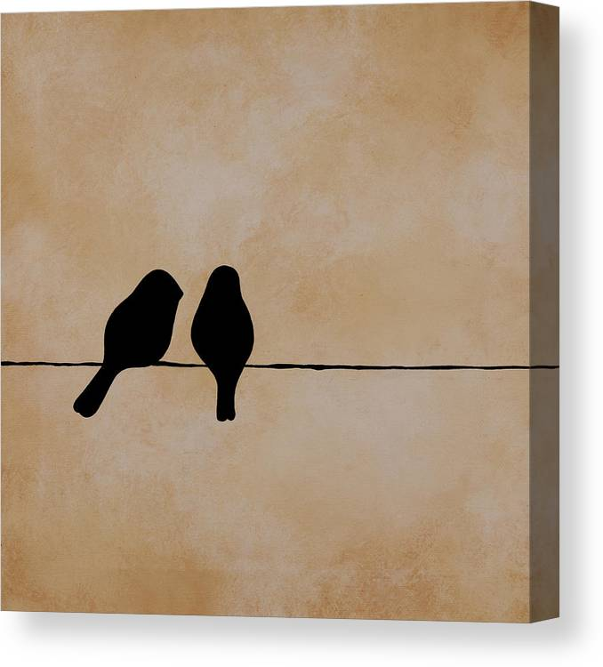 Birds Canvas Print featuring the painting Birds On a Wire by Jodi Leigh