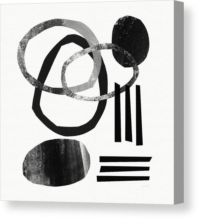 Black And White Abstract Canvas Print featuring the mixed media Black and White- Abstract Art by Linda Woods