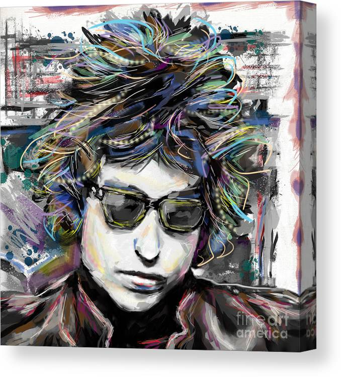 Bob Dylan Canvas Print featuring the mixed media Bob Dylan Art by Ryan Rock Artist