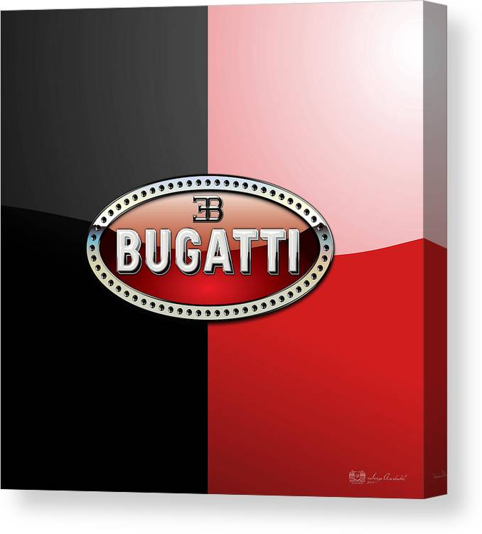 Wheels Of Fortune By Serge Averbukh Canvas Print featuring the photograph Bugatti 3 D Badge on Red and Black by Serge Averbukh
