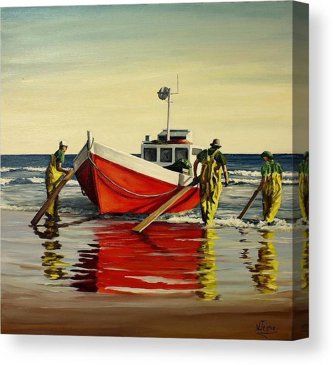 Boat Canvas Print featuring the painting Cabo Polonio Fishing by Natalia Tejera
