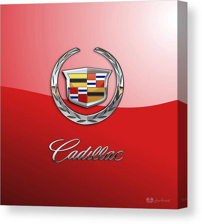 �wheels Of Fortune� Collection By Serge Averbukh Canvas Print featuring the photograph Cadillac - 3 D Badge on Red by Serge Averbukh