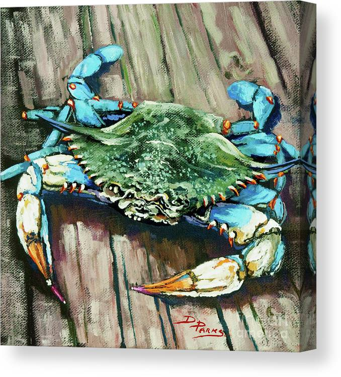 Crab Canvas Print featuring the painting Crabby Blue by Dianne Parks
