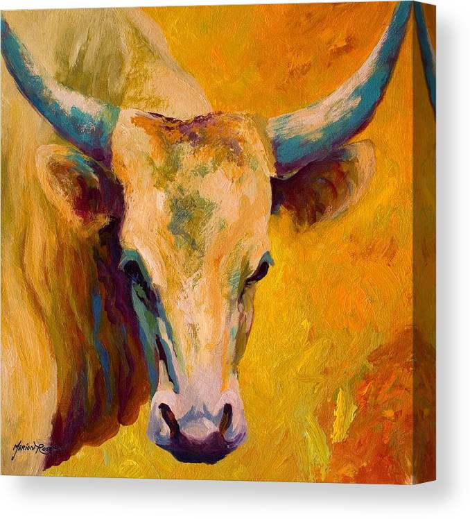 Longhorn Canvas Print featuring the painting Creamy Texan - Longhorn by Marion Rose