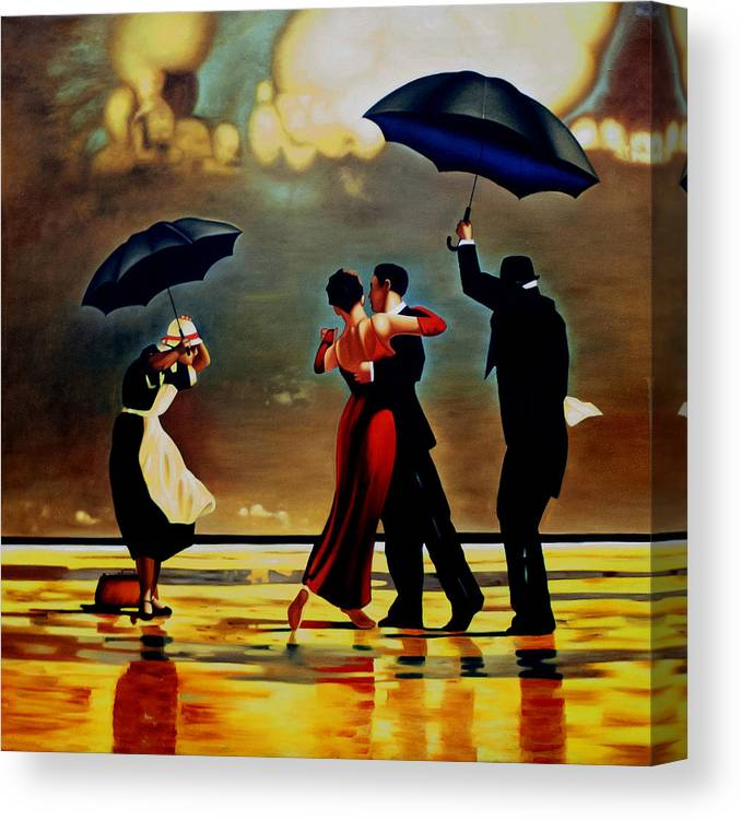 Dance Canvas Print featuring the painting Dancing in the rain by Michael Pancito