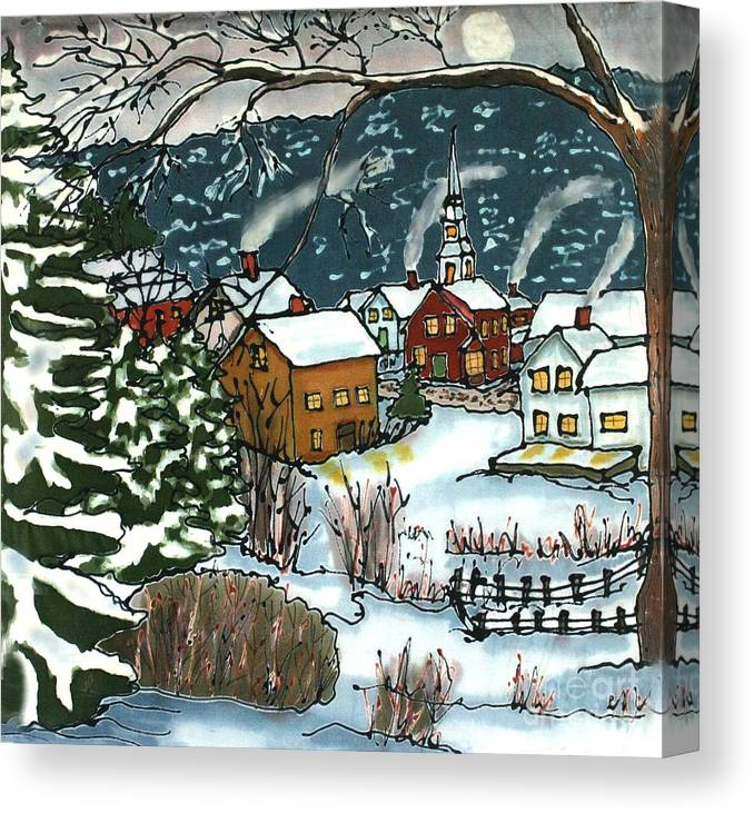 Village Canvas Print featuring the painting December Village Silk Painting by Linda Marcille