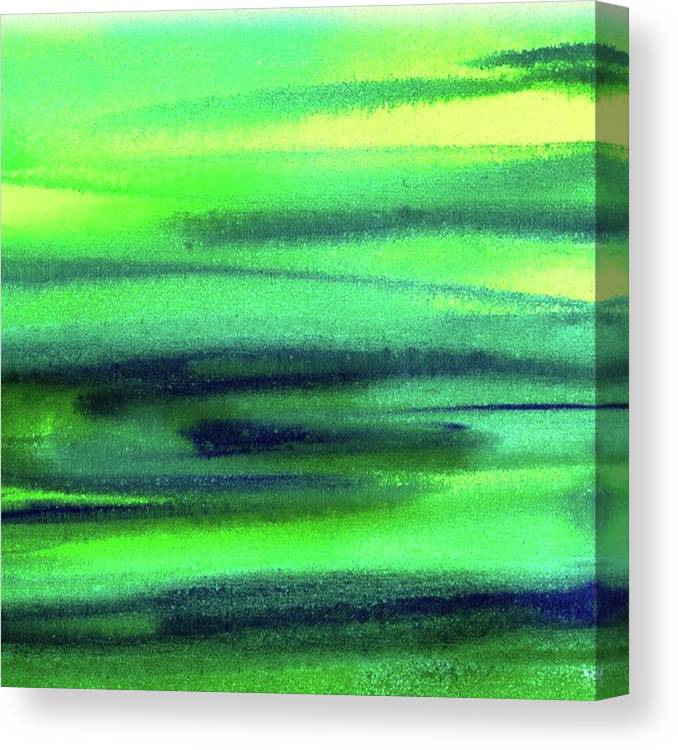 Emerald Canvas Print featuring the painting Emerald Flow Abstract Painting by Irina Sztukowski