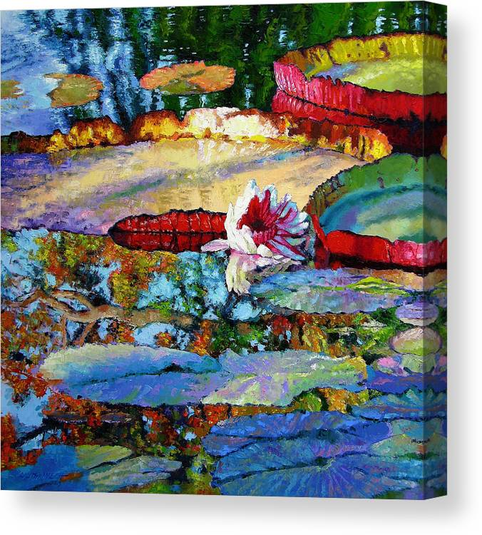 Garden Pond Canvas Print featuring the painting Emotions of Color Light and Texture by John Lautermilch