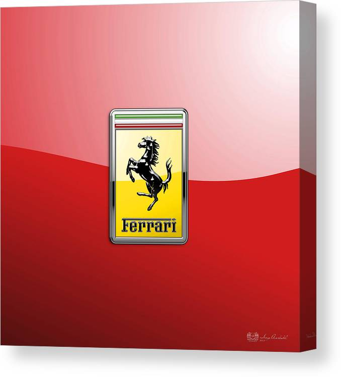 �auto Badges� Collection By Serge Averbukh Canvas Print featuring the photograph Ferrari 3D Badge-Hood Ornament on Red by Serge Averbukh