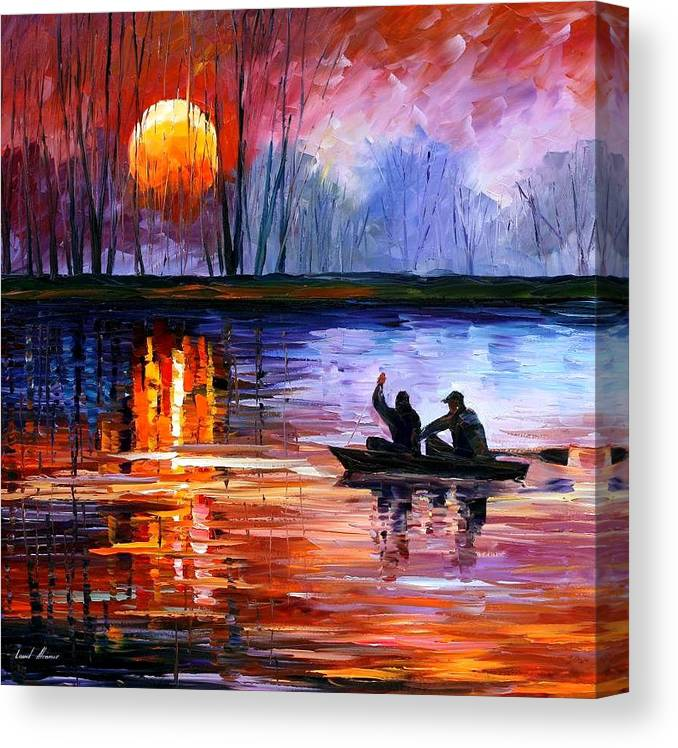 Seascape Canvas Print featuring the painting Fishing On The Lake by Leonid Afremov