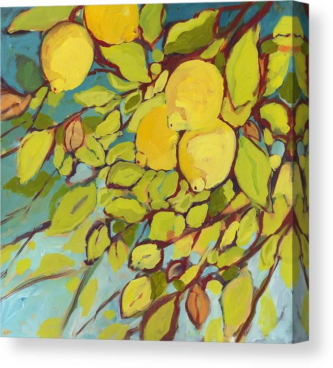 Lemon Canvas Print featuring the painting Five Lemons by Jennifer Lommers