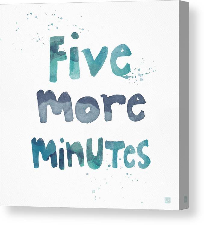 Sleep Canvas Print featuring the painting Five More Minutes by Linda Woods
