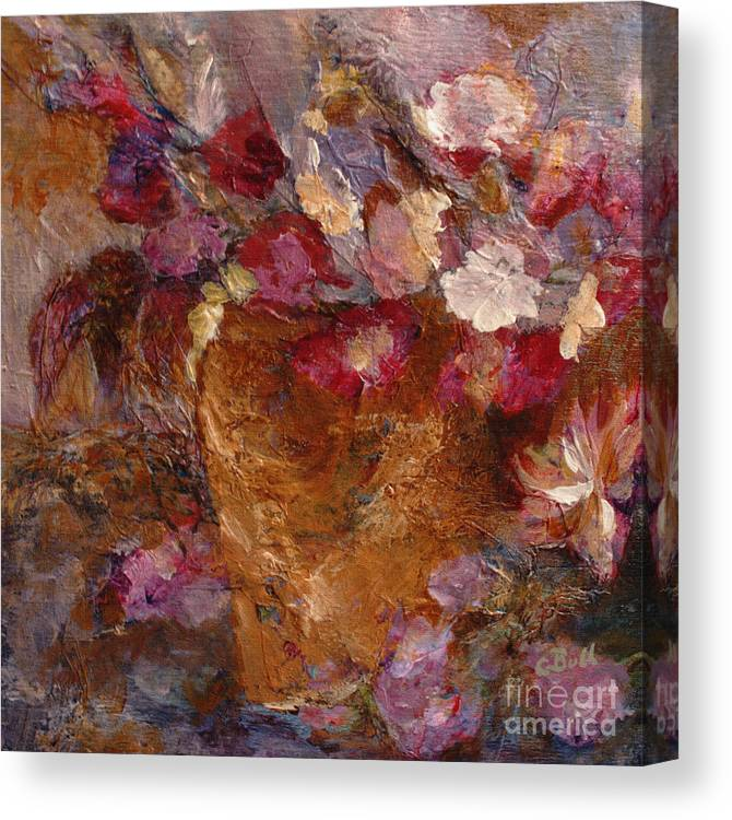 Floral Canvas Print featuring the painting Floral Still Life Pinks by Claire Bull