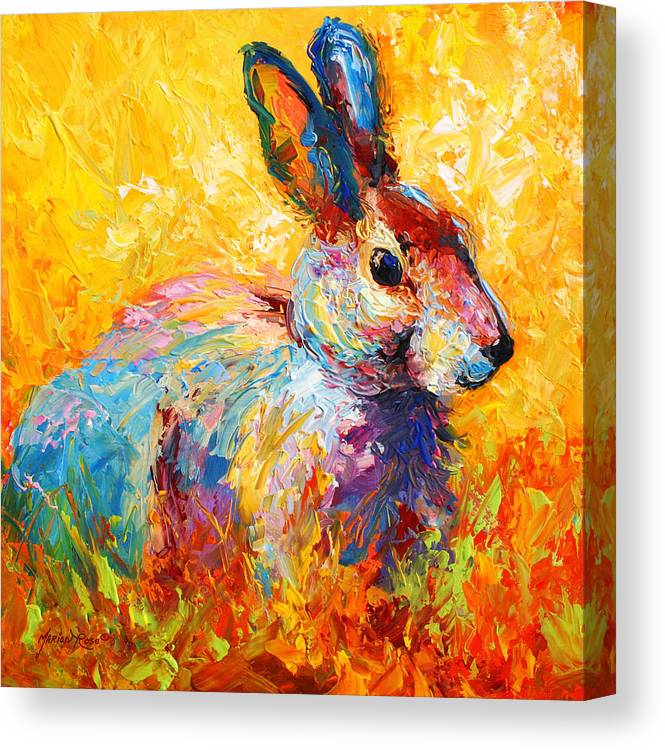 Rabbit Canvas Print featuring the painting Forest Bunny by Marion Rose