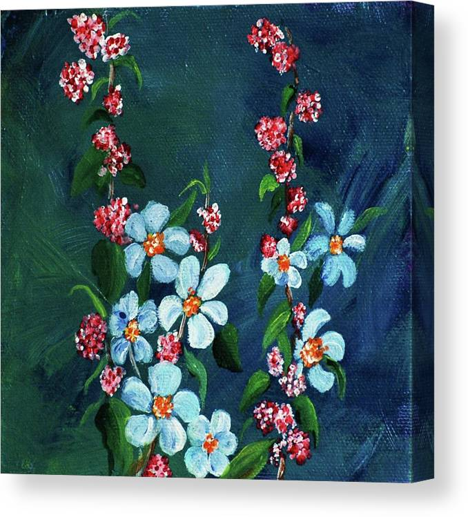 Canvas Print featuring the painting Forget Me Nots by Melinda Etzold