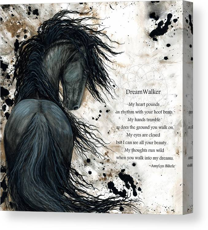 Horse Canvas Print featuring the painting Friesian DreamWalker Horse by AmyLyn Bihrle