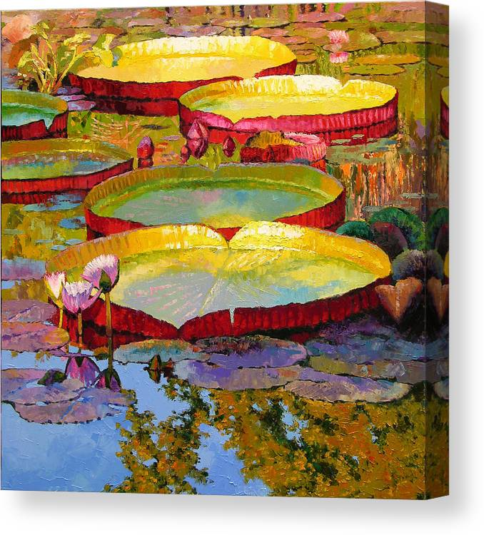 Sunlight Canvas Print featuring the painting Golden Light On Pond by John Lautermilch