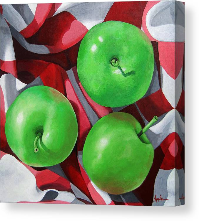 Apples Canvas Print featuring the painting Green Apples still life painting by Linda Apple