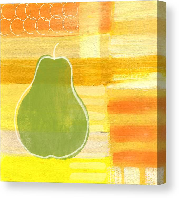 Pear Canvas Print featuring the painting Green Pear- Art by Linda Woods by Linda Woods